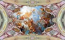LHDLily 3D Tapete Wandbild Europäischen Figur Malerei Die Decke Fresko 3D Stereoskopischen Tapeten Decken Dekoration 400Cmx300Cm