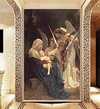 LHDLily 3D Tapete Wandbild Europäischen Ölgemälde Religiöse Wandbild Hotel Ktv Galerie Engel Wandbild 150Cmx100Cm