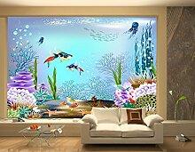 LHDLily 3D Wallpaper'S Wandbild Kinderzimmer Tapete Handbemalte Unterwasser Fisch Spielen Glücklich Wandmalereien 300Cmx200Cm