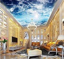 LHDLily 3D Wallpaper Mural Große Decke Wand Mural Tapete Hintergrund Blauer Himmel Und Weiße Wolken Tapete 400Cmx300Cm