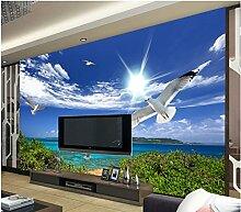 LHDLily 3D Wallpaper Mural Stereoskopischen Tapete Blauen Himmel Und Weißen Wolken Seemöwe Landschaft Moderne Wohnzimmer Tapeten Dekoration 200Cmx150Cm