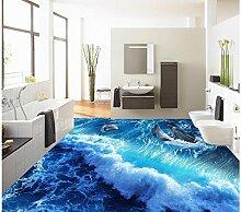 LHDLily 3D Wallpaper Mural Stereoskopischen Tapete Dekoration Delphin Wellen Sea World Bad Wohnzimmer Boden Pvc-Boden Tapete 400Cmx300Cm
