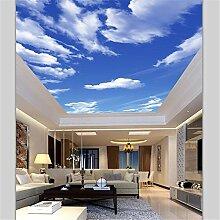 LHDLily 3D Wallpaper Wandbild Benutzerdefinierte Tapete Hd Blauer Himmel Weiße Wolke Wohnzimmer Schlafzimmer Decke Wandbild 200Cmx150Cm