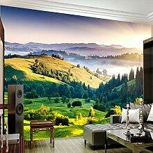 LHDLily 3D Wandbild Sofa Tapete Wohnzimmer Tv Hintergrundbild Grünland Wallpaper Wandbild 400cmX300cm