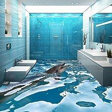 LHDLily Benutzerdefinierte 3D Boden Tapete Ozean Delphin Badezimmer Boden Malerei Tragen Rutschfeste Verdickt 3D Wallpaper Wandbild 350Cmx250Cm
