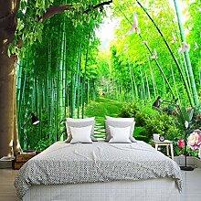 LHDLily Garten Landschaft Bambus 3D Stereo Tapete Wohnzimmer Esszimmer Schlafzimmer Hintergrund Grün Wallpaper Wandbild 200cmX150cm