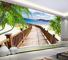 LHDLily Großes Wandbild Strand Landschaft Schlafzimmer Wohnzimmer Sofa Tv Hintergrund Wand Tapete Vlies 200cmX150cm