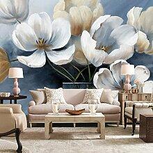 LHDLily Hand Gemalte Blumen Tapete Wohnzimmer Schlafzimmer Wallpaper Wandbild 200cmX150cm