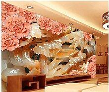 LHDLily Home Dekoration 3D Raum Tapete Pflaume Blüte Blume Jadeschnitzerei Hintergrund Malerei Foto Wandbild Tapeten 150cmX100cm