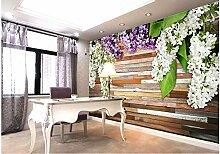 lhdlily Home Dekoration lila Holz Schnitzereien Badezimmer 3D Tapeten für Wohnzimmer Badezimmer Abmessungen 150x 100cm