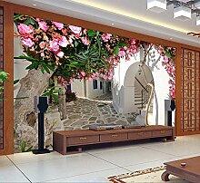 LHDLily Im Europäischen Stil, 3D Blumen Rattan Wand Tapete Wohnzimmer Schlafzimmer Wallpaper Wandbild 300cmX200cm