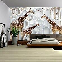 LHDLily Kinder Zimmer Großes Wandbild Schlafzimmer Tv Hintergrund Tapete 3D-Giraffe Wallpaper 400cmX300cm
