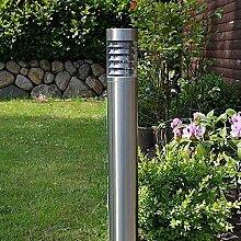LHG Wegeleuchte aus Edelstahl | Höhe der Außenleuchte 80cm | Lampenglas Polycarbonat Ø 10cm | Leuchten Fassung E27
