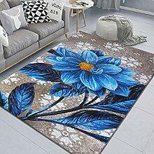 LHGBGBLN 3D-Druck Teppich Blaue Pflanze