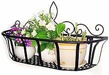 LHP Continental Iron Wandbehang Flower Pot Regal, Balkon Blumenregal, Dekorative Pflanze Regal High-End ( farbe : Schwarz , größe : S )