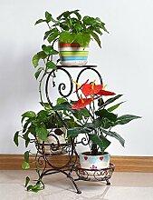 LHP Europäische - Stil Eisen Antique Boden Blumentopf Regal hält 3-Blumentopf für Indoor, Balkon, Wohnzimmer High-End ( farbe : Bronze )