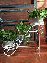 LHP Garten-Eisen-3- Tier-Fußboden-Blumen-Topf-Regal, Betriebs-Standplatz, Blumen-Zahnstange für Balkon, Wohnzimmer, Innen High-End ( farbe : Weiß )