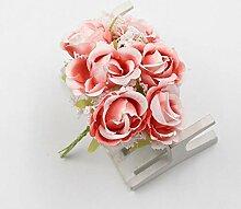 LHPSHI 6 Stück/Weiße Spitze Seide Rosenstrauß