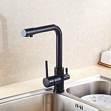 LHS Antikes Kupfer Dual-Armatur Spüle Wasserhahn warme und kalte Küche Wasserfilter rotierenden Wasser
