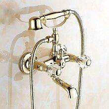 LHS Gold Antik Kupfer Badewanne Wasserhahn