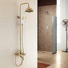 LHS Hochwertigem Titan gold Dusche Set kontinentalen Badezimmerdusche kann Rotary heben.