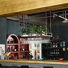 LHwine Weinglas-Gestell, Suspendierung kreatives Wein-Gestell, gedrehtes Eisen-Rotweinglas-Rahmen, Bar-Haushalts-Wein-Schalen-Halter Weinregale (Farbe : Bronze, größe : 80*35cm)