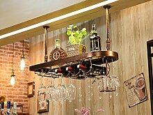 LHwine Weinregal Massivholz Weinregal hängen Rotwein Rack umgedreht Rotwein Glashalter Europäische Weinglas Halter hängen hohe Tasse Inhaber Weinregal Weinregale (Farbe : C, größe : 100*28cm)