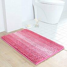 LI JING SHIOP - Badematten, Chenille Teppich Badezimmer Wasserabsorption Teppich Türmatten Streifen Gradient rutschfeste Matte ( größe : 45*60CM )
