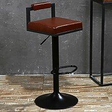LI JING SHOP - Lift Stuhl Verstellbarer Rückenlehne Hocker Esszimmerstuhl Retro Paint Drehen Barhocker ( Farbe : Braun )