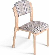 LI JING SHOP - Massivholz Esszimmerstuhl Europäischer Stil Niedriger Rückenstuhl Cafe Klassischer Stoff Hocker ( Farbe : Grid )