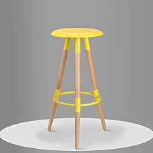 LI JING SHOP - Massivholz Hocker Bar Stuhl Bar Hocker modern Simple Home High Stuhl ( Farbe : Gelb )