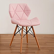 LI JING SHOP - Moderne einfache Massivholz Esszimmer Stuhl Home Freizeit Bequeme Rückenlehne Hocker ( Farbe : Pink )