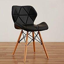 LI JING SHOP - Moderne einfache Massivholz Esszimmer Stuhl Home Freizeit Bequeme Rückenlehne Hocker ( Farbe : Schwarz )
