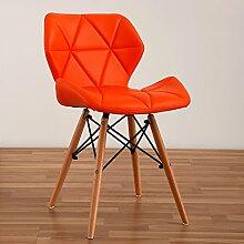 LI JING SHOP - Moderne einfache Massivholz Esszimmer Stuhl Home Freizeit Bequeme Rückenlehne Hocker ( Farbe : Orange )