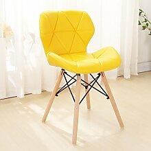 LI JING SHOP - Moderne einfache Massivholz Esszimmer Stuhl Home Freizeit Bequeme Rückenlehne Hocker ( Farbe : Gelb )