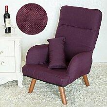 LI JING SHOP - Schwangere Fütterung Stuhl Klappbare Rückenlehne Stillstuhl mit Waschbar Baumwolle und Leinen Mantel ( Farbe : Lila )