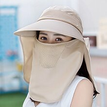 Li Ye Feng Shop Outdoor-Freizeit Sonnenhut Sommer koreanische Version der Frauen Hut Fahrrad Sonnenschutz Hut Wand Gesicht UV Schutzkappe Urlaub Kappe (Color : Khaki)