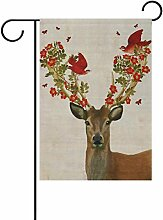 LIANCHENYI Elch mit rot Vögel und Blumen