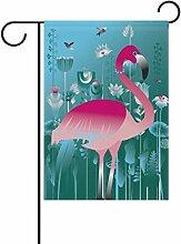 LIANCHENYI Pink Flamingo Vogel mit Lotus Blumen