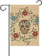 LIANCHENYI Totenkopf mit Blumen doppelseitig