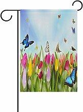 LIANCHENYI Tulpen mit Schmetterling,-Flagge,
