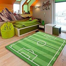 LIANG Kinderzimmer Fußball Spielteppich Kinderteppich Fußballplatz, 130cm * 100cm, Blau