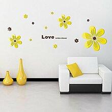 LIANGJUN Wandaufkleber Tapeten Aufkleber 3D Blumenform Wohnzimmer Schlafzimmer, 2 Farben, 2 Größen ( Farbe : Gelb , größe : Mittel )