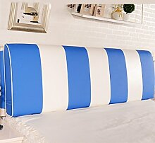 LIANJUN Color Matching Support Bedside Kissen Bett Kopf Kissen Soft Bag Lesung Rückenlehne Kopfteil Kissen-Allgemein (6 Größen) Bettwäsche Zubehör ( Farbe : Blau , größe : 160*12*58cm )