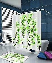 LIANJUN Duschvorhang 3D-Druck Kreativer einfacher Duschvorhang Wasserdichter mouldproof Badvorhang mit Haken (11 Größen) Anti - statischer Duschvorhang ( Farbe : B , größe : 240*180CM )