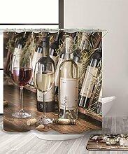 LIANJUN Duschvorhang 3D Printing Champagner & WineShower Vorhang Wasserdichter Mouldproof Bad Vorhang mit Haken (11 Größen) Anti - statischer Duschvorhang ( größe : 220*180CM )