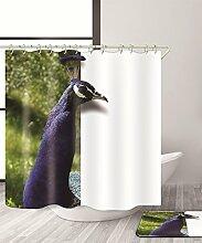 LIANJUN Duschvorhang Einfache 3D-Druck Avifauna Duschvorhang Wasserdichter Mouldproof Bad Vorhang mit Haken (11 Größen) Anti - statischer Duschvorhang ( Farbe : A , größe : 180*240CM )