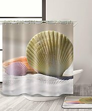 LIANJUN Duschvorhang Einfache kreative 3D Duschvorhang Wasserdichter Mouldproof Bad Vorhang mit Haken (11 Größen) Anti - statischer Duschvorhang ( Farbe : B , größe : 180*240CM )