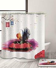 LIANJUN Duschvorhang Elegantes Chinoiserie Element 3D Duschvorhang Kreativer wasserdichter Mouldproof Bad Vorhang mit Haken (11 Größen) Anti - statischer Duschvorhang ( Farbe : B , größe : 120*200CM )