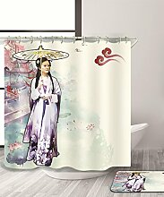 LIANJUN Duschvorhang Elegantes Chinoiserie Element 3D Duschvorhang Kreativer wasserdichter Mouldproof Bad Vorhang mit Haken (11 Größen) Anti - statischer Duschvorhang ( Farbe : A , größe : 220*180CM )
